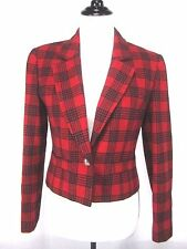 Pendleton Red Black Plaid Checked Wool Blazer Women's Size 8 EUC Jacket