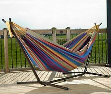 Space Saving Steel Hammock Stand 9' Outdoor Patio Portable With Carrying Case