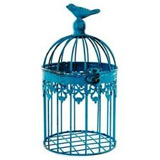 Small Distressed Antique Blue Square Iron Bird Cage ~ Rsutic Shabby Chic Decor