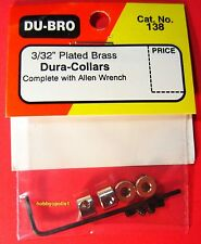 "DUBRO 138 3/32"" Plated Brass Dura-Collars (4) w/Wrench for RC Airplanes DUB138"