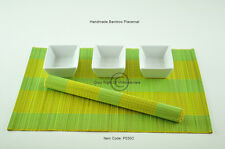 6 Handmade Bamboo Placemats Table Mats, Yellow-Green  P030C