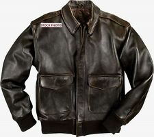 Men's Medium Brown Leather WWII Style A2 Flight Bomber Jacket