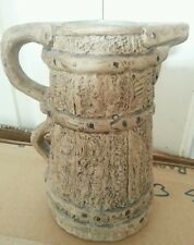 VINTAGE STONEWARE 2 HANDLE JUG HILLSTONIA MOIRA BANDED WOOD WINE BARREL LOOK