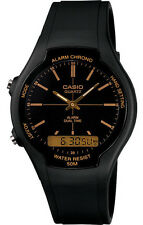 Casio AW90H-9E Men's Black Gold Index Dial Analog Digital Dual Time Zone Watch