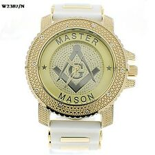 MENS ICED OUT ICE NATION GOLD/WHITE MASONIC HIP HOP WATCH WITH BULLET BAND