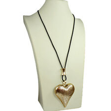 Lagenlook burnished gold colour large chunky heart pendant leather long necklace