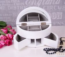 White Wooden Jewellery Box Display mirror Gift Jewelery Christmas Present New