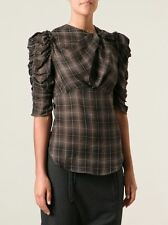 ISABEL MARANT NWT Brown Plaid Print Ruched Keyhole 3/4 Sleeve Ilma Blouse 34/2/S
