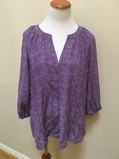 Joie Purple Silk Printed Loose Fit 3/4Sleeve Blouse Woman Size Large L