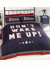 TEEN DON'T WAKE ME UP! NAVY BLUE RED SINGLE  bed QUILT DOONA COVER SET NEW