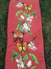 """Vtg Rusty/Coral Floral Butterfly WOOL NEEDLEPOINT Bell Pull Wall Tapestry 9x46"""""""