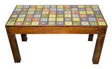 Vintage Timber Ceramic Tile  Centre Table Coffee Table Antique Indian Moroccan