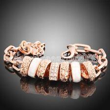 18K Rose Gold GP Swarovski Crystal &Shell 7pcs Heart Chain Fashion Bracelet 167