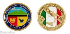 """NAVAL SUPPORT ACTIVITY  NAPLES ITALY FLAG 1.75"""" NAVY MILITARY CHALLENGE COIN"""