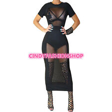 Women Fashion Short Sleeve Mesh Patchwork See Through Sexy Outfits Club Dresse