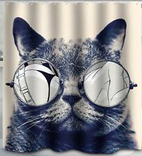 Cat Glasses Reflecting Sum Bathing Model Girl Bathroom Shower Curtain Polyester