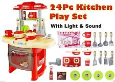 ELECTRONIC 24 PCS KITCHEN SET KIDS TOY FOR BOYS GIRLS RED GREAT CHRISTMAS GIFT