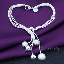 1Pc Silver Plated Chain Bracelet Chunky Retro Lady Tassel Beads Bangle Jewelry