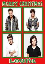 one direction personalised A5 Christmas card daughter niece sister name