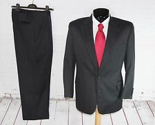 CORPORATE HAND TAILORED (40S) Mens Charcoal Stripe Jacket Trouser Suit 34W