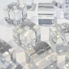 100 pieces 4mm Crystal Glass Square / Cube Beads - CLEAR - A3003