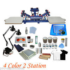 4 Color Screen Printing Press Kit Machine 2 Station Silk Screening Exposure DIY
