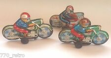 Vintage 1960 S' Lot of 3 Motorcycle Tin Police Wind Toy Japan Rubber Wheels