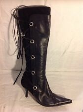 Moda In Pelle Black Knee High Leather Boots Size 38