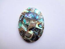 30x40mm Oval Abalone Shell Gemstone Bead Pendant - 1 Pc