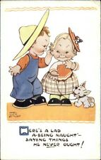 Mabel Lucie Attwell Postcard - Boy Whispering Naughty Things to Girl