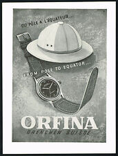1940's Old Vintage 1947 Orfina Waterproof Watch Mid Century Modern Art Print AD