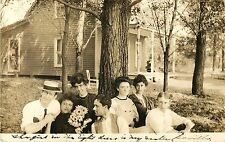 A View of Some Friends Gathered Under A Tree, Syracuse IN Indiana RPPC 1907