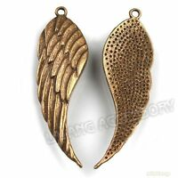 100x Pretty Vintage Bronze Angel Wings Charms Alloy Pendants Jewelry Findings LC