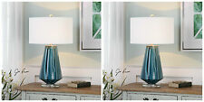 "TWO 29"" TEAL GRAY WITH BLUE GLASS TABLE LAMP BRUSHED NICKEL CRYSTAL BASE LIGHT"