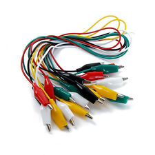 10pc Insulated Test Lead Cable Wire Set With Double Ended Alligator Clips