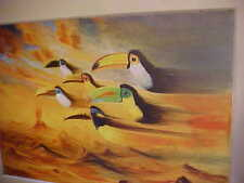 "Original Oil Painting ""Toucans"" by Listed Fine Artist Jose Moreno,Framed, Matted"