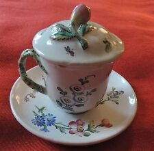 Veuve Perrin French Faience Tin Glaze Pottery Tea Cup & Saucer Pot de Creme