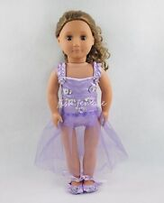 Purple Dress Skirt With Shoes For 18''American Girl Doll Clothes Girl Gift #ky57