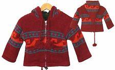 Kinder STRICKJACKE dunkel-rot Gr.104/110, 100% Schafwolle+FleeceFutter XXLKapuze