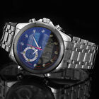 Silver Men's LCD Date Stainless Steel Dual Time Digital Analog Sport Wrist Watch