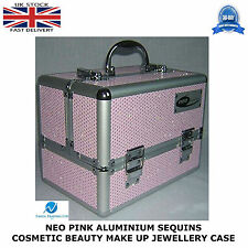 NEO Pink Sequins Professional Aluminium Beauty Cosmetic Box Make Up Case STRONG
