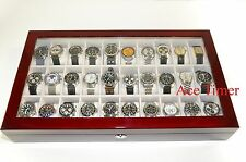 30 Watch (Premium Series) 1 Level Rosewood Display Storage Case Box + Gift