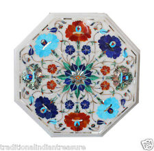 """12"""" White Marble Coffee Table Turquoise Paua Shell Lapis Inlay Floral Art Hakik"""