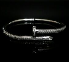 Men Women Silver Stainless Steel Lab Diamond Nail Screw Bangle Bracelet
