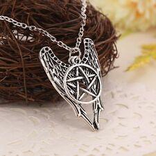 Silver Angel Pentagram Amulet Winchester Inspire Super Natural Pendant Necklace