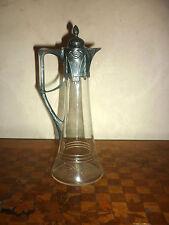 Ancienne Aiguière Art Nouveau Carafe  Cristal Métal Argenté Liqueurs
