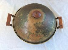 "Vintage Rustic Arts & Crafts Korea Solid Copper 12 7/8"" Diame Stock Pot With Lid"