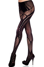 Fun! Black Multi-Pattern Floral & Polka Dot Pantyhose! Net Stockings 79551