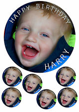 OWN PERSONALISED PHOTO Edible Icing Cake Topper 7.5' round & 6 x cupcake toppers
