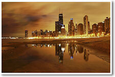 Chicago Nights - Art Print Cityscape - America US Travel City - NEW POSTER